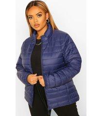 plus basic gewatteerde jas, marineblauw