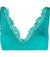 ermanno scervino lace-trimmed bikini top - blue