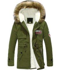 invierno chaqueta acolchada de algodón de longitud media cuello de piel con capucha chaqueta de abrigo