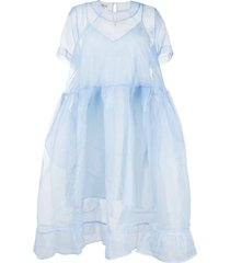 baum und pferdgarten sheer organza babydoll dress - blue