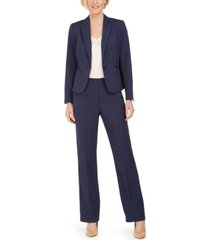 le suit one-button zip-pocket pinstripe pantsuit