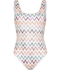 missoni mare zigzag crochet one-piece swimsuit - white