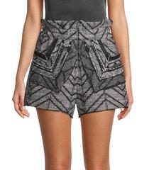 iro women's high-waist textured chevron shorts - black white - size 34 (2)