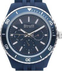 orologio solo tempo cinturino in silicone blu e cassa acciaio per uomo