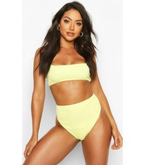 high waisted square neck crinkle bikini, green