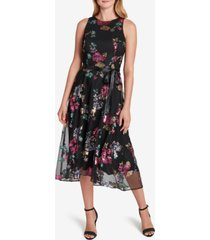 tahari asl embellished lace a-line dress