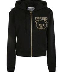 moschino beaded bear logo zip hoodie