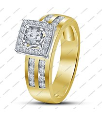 14k gold fn. 925 sterling silver round cut white cz engagement wedding ring