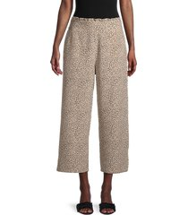 sanctuary women's the bohemia cropped pants - mini leopard - size l