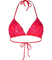 fisico sequin-embellished bikini top - red
