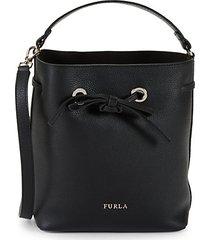 costanza drawstring top leather handbag