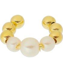 brinco piercing fake argola de pã©rolas e bolinhas folheado a ouro - amarelo/dourado/multicolorido - feminino - dafiti