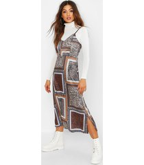 mixed leopard print slip dress, brown