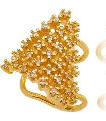 brinco piercing escudo cravejado cristais banhado a ouro 18k