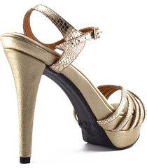 sandalia alta cuero dorado elegante versilia yeimy