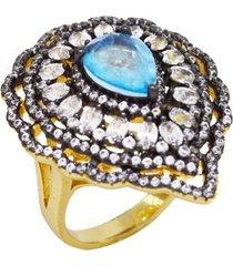 anel la madame co maxi gota toda cravejada com cristais zircônias com gota fusion topázio banhado a ouro 18k
