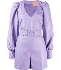 andamane leather look playsuit - purple