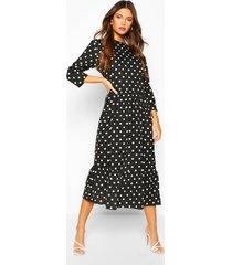 oversized polka dot smock dress, black