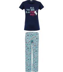 pijama any any jersey e viscose azul