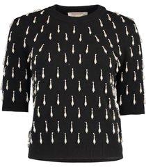 black cashmere pearl embellished pullover