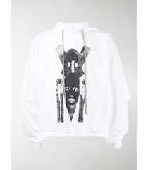 rick owens drkshdw graphic print double-layered hoodie