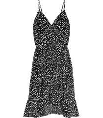 cheetah spaghetti jurk zwart