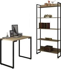 conjunto escritã³rio mesa escrivaninha 90cm e estante 5 prateleiras estilo industrial new port f02 nature - mpozenato - marrom - dafiti