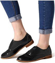 retro almond slip on casual oxford shoes