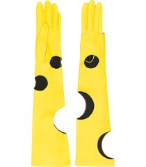 manokhi long cut-out gloves - yellow