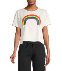 french connection women's rainbow pride cropped t-shirt - summer white - size xs