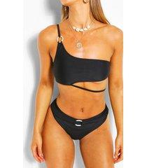 asymmetric ring high waist bikini, black