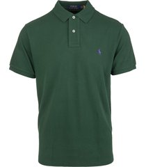 man bottle green and purple slim-fit pique polo shirt