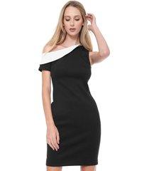 vestido calvin klein curto ombro único preto/branco