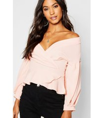 bell sleeve wrap over top, blush