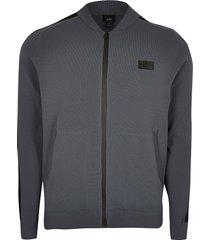 river island mens maison riviera grey bomber jacket