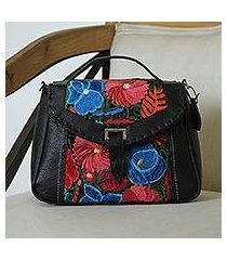 cotton accent leather shoulder bag, 'traditional bouquet' (mexico)