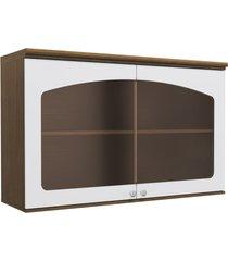 armário aéreo cozinha 120 cm provenzza 2 portas com vidro g627 jacarandá/branco - kappesberg