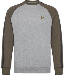 colour block crew neck sweatshirt sweat-shirt tröja grå lyle & scott