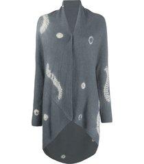 suzusan oversized tie-dye effect cardigan - grey