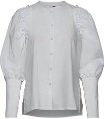 hazel black/cream blouse blouse lange mouwen wit mother of pearl