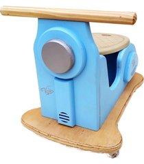 carrinho motoneta kits e gifts madeira - azul calcinha com banco velvet suede - 100% artesanal - azul - tricae