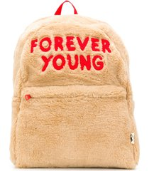 mini rodini forever young emboidered faux fur backpack - brown