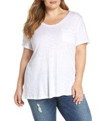 plus size women's caslon rounded v-neck tee, size 1x - white