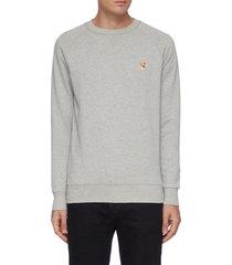 embroidered fox head patch cotton raglan sweatshirt