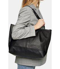 black leather studded strap tote bag - black