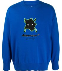 ader error half-oversized long sleeve sweater - blue