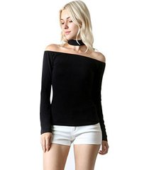 fashion secrets women long sleeve rayon choker off shoulder halter top blouse (l