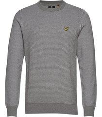birdseye knitted jumper stickad tröja m. rund krage grå lyle & scott