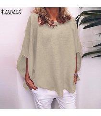 zanzea las mujeres más del tamaño de cuello redondo manga corta tapas de las señoras de gran tamaño t shirts blusa -beige