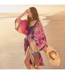 sundance catalog women's paradiso kimono in patchwork xs/s